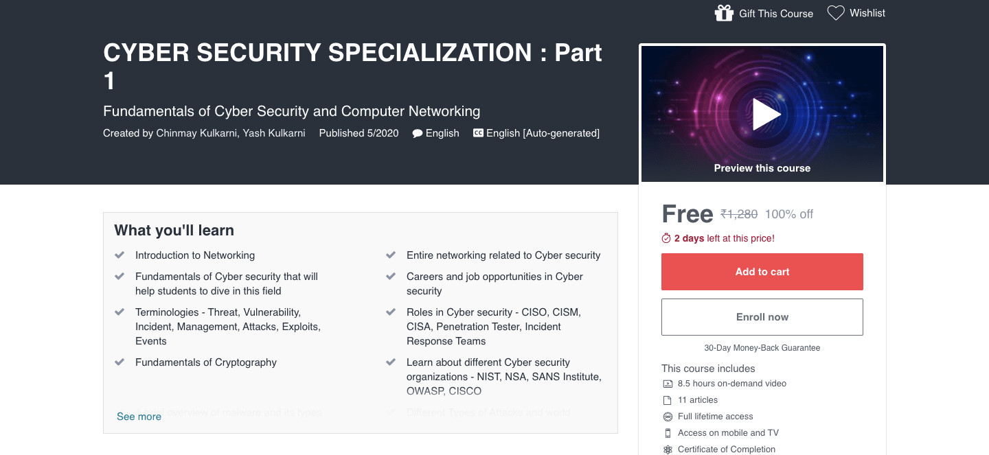 CYBER SECURITY SPECIALIZATION : Part 1